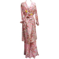 John Galliano gorgeous trench coat and pants set in pink silk with floral print