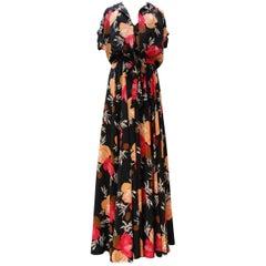 Schönes langes Kleid mit Sommerjacke aus floraler Seide, Nina Ricci