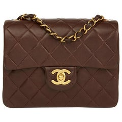 1993 Chanel Chocolate Brown Quilted Lambskin Vintage Mini Flap Bag