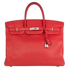 2013 Hermes Rouge Casaque Clemence Leather Birkin 40cm
