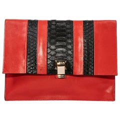 PROENZA SCHOULER Pouch in a Smooth Red Leather and Exotic Skin