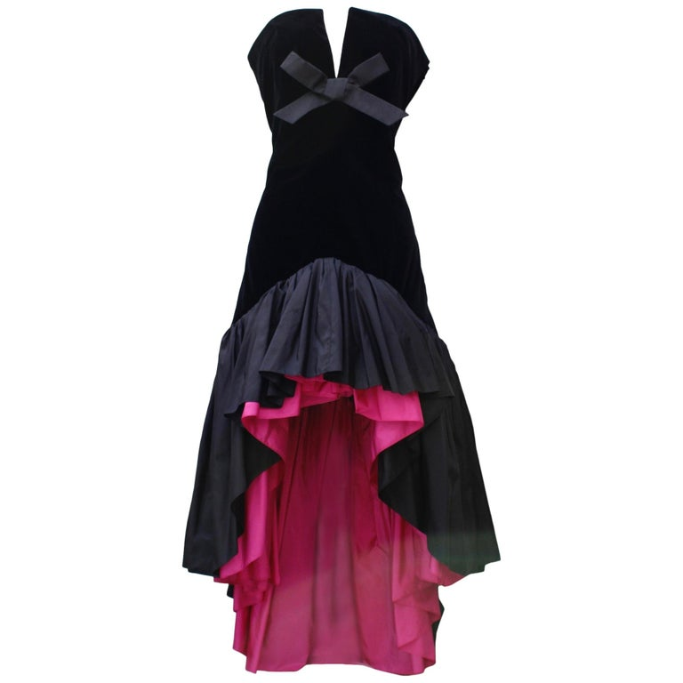 Saint Laurent Rive Gauche stunning black and fuchsia dress