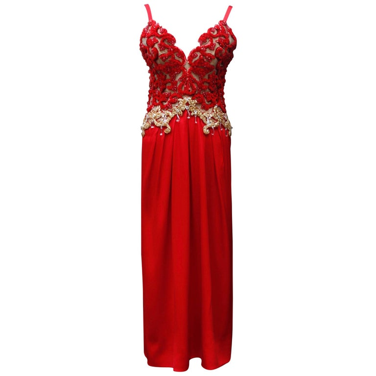 Givenchy Haute Couture gorgeous red and gold evening dress