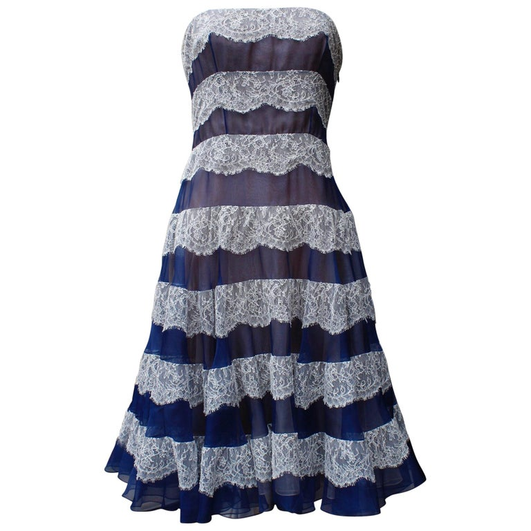 Christian Dior baby doll bustier dress in navy blue veil and white lace