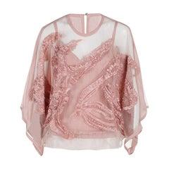 Elie Saab Pink Semi-Sheer Embroidered Top M