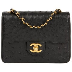 1987 Chanel Black Ostrich Leather Vintage Mini Flap Bag
