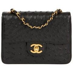 1987 Chanel Black Ostrich Leather Vintage Mini Flap Bag