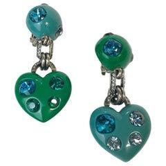 LANVIN by ALBER ELBAZ Blue and Green Clip-on Earrings set wth Rhinestones