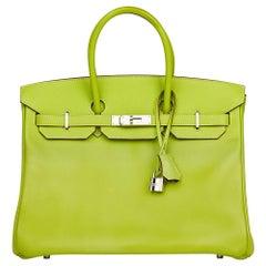 2011 Hermes Kiwi & Lichen Epsom Leather Candy Collection Birkin 35