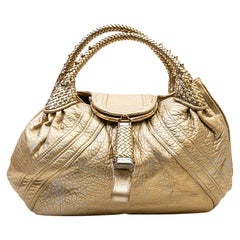 FENDI Flap Bag, Spy Model, in Silver and Gold Leather