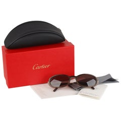 Cartier Paris Brown Unisex Sunglasses Mod T8200423 51mm New Old Stock