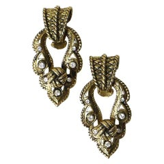 JACQUES FATH Vintage Clip-on Earrings in Aged Gilt Metal and Rhinestones