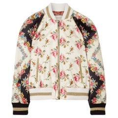 Gucci Appliquéd Floral-Print Duchesse Silk-Satin Bomber Jacket