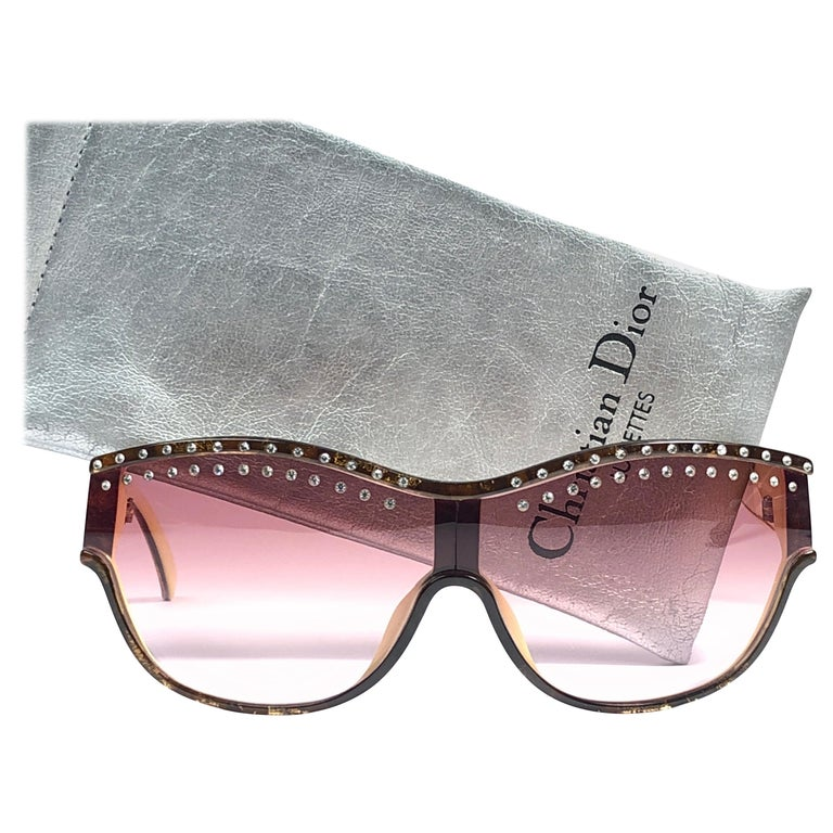 8e668b44d7a6 New Vintage Christian Dior 2438 Rhinestones Accents 1980's Sunglasses For  Sale