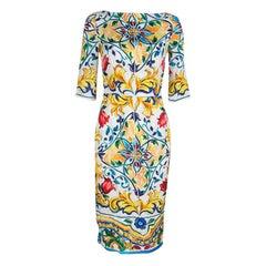 Dolce and Gabbana Majolica Printed Silk Boat Neck Sheath Dress S