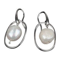 Handmade in Italy 925 Sterling Silver Earrings with Baroque Pearls Beads