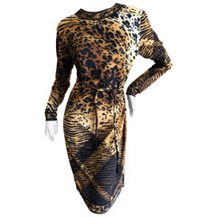 Leonard Paris for Bergdorf Goodman 1970's Leopard Jersey Belted Dress