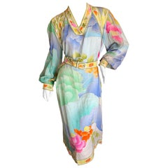 Leonard Paris 1970's Pure Silk Satin Floral Dress with Belt
