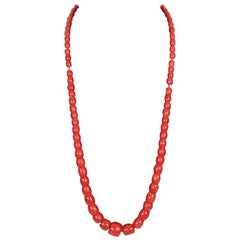 Vintage Natural Red Mediterranean Coral Strand Necklace Beads