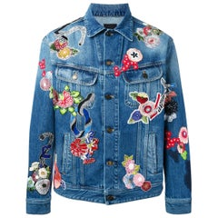 Saint Laurent Love Embroidered Denim Jacket