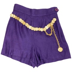 1990's Moschino Royal Purple Linen Shorts With Attached Gilt Coin Belt