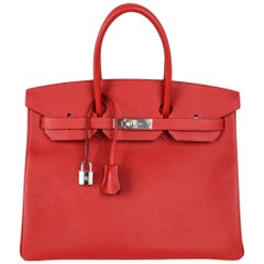 Hermes Birkin 35 Rouge Casaque Lipstick Red Epsom Palladium new