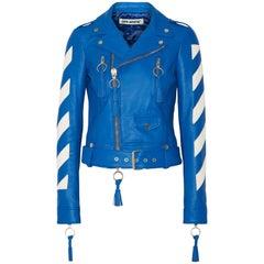 Off-White c/o Virgil Abloh Paneled Leather Biker Jacket
