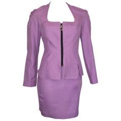 Thierry Mugler 1990s Lilac Linen Jacket & Skirt set Size 4.