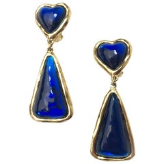 SONIA RYKIEL Vintage Pendant Clip-on Earrings in Gilt metal and Dark Blue Resin