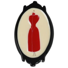 Handmade in Italy Black and Beige Resin Plexiglass Lady Mannequin Brooch