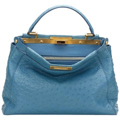 2000 Fendi Blue Ostrich Leather Small Peekaboo