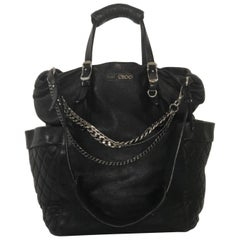 Jimmy Choo Leather Tote Shoulder with Chain Detail in Black