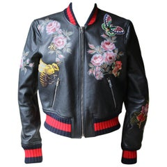 Gucci Hand-Painted Embroidered Leather Bomber Jacket