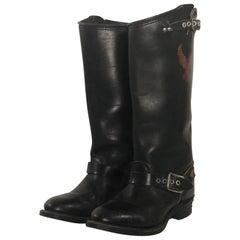 Harley Davidson Black Leather Tall Biker Buckle Boots