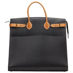 1994 Hermes Black Ardennes Leather & Barenia Leather Vintage Airport Bag