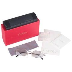Cartier Paris Silver Platinum Rimless Eyeglasses Eyewear New Old Stock