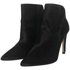 Zara Pony Hair Pointed Stiletto Ankle Boots in Black