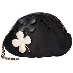 2004 Chanel Black Satin Four Leaf Clover Timeless Wristlet Clutch