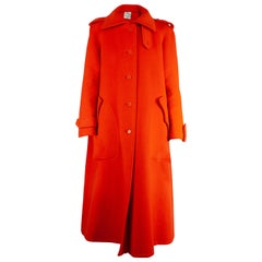 Courrèges numbered Couture orange wool coat. circa 1967