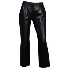 Celine Black Leather Paneled Pants Sz 36