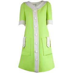 Courrèges numbered lime green and ivory wool dress. circa 1965