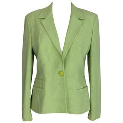 Versace Jeans Couture Vintage Green Pied De Poule Jacket, 1990s