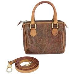 Etro Mini Handbag Pochette Paisley Leather Vintage Brown, 1990s