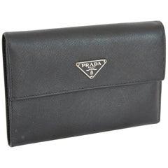 Prada Wallet Briefcases Leather Vintage Black, 1990s