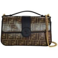 Fendi 2018 Black/Brown Leather/Canvas Monogram Double Flap Crossbody Bag