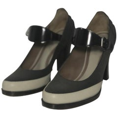 Marni Two Tone Gray Leather Mary Jane with Chunky Heel