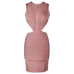 Herve Leger Dress Bandage Cutout Waist and Rear Dusty Pink XS nwt