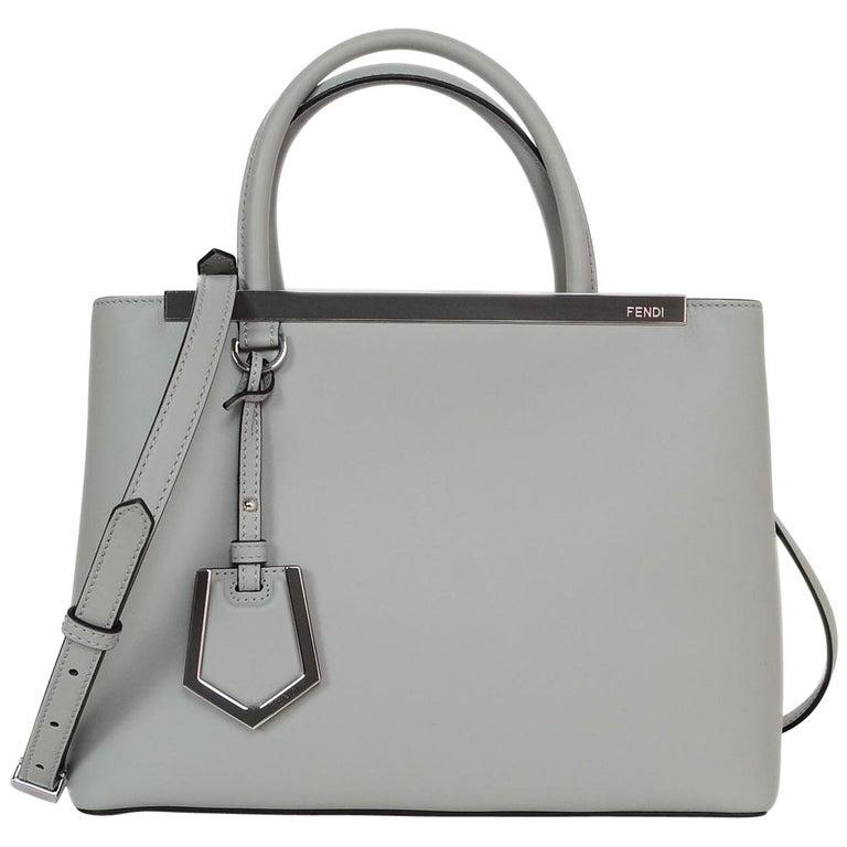 183540c21011 Fendi 2018 Ice Blue Grey   Camellia Leather Petite 2 Jours Satchel  Crossbody Bag For