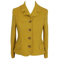 Versace Jeans Couture Boucle Jacket Blazer Wool Vintage Yellow, 1990s