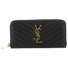 Saint Laurent Classic Monogram Zip Around Wallet Matelasse Chevron Leather